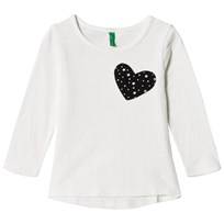 United Colors of Benetton L/S Slub Cotton T-Shirt With Printed Heart Pocket White White