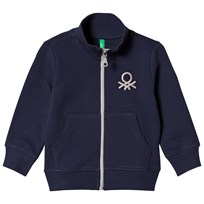 United Colors of Benetton Jersey Zip Jacket With Logo Navy Navy