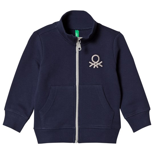 United Colors of Benetton Logo Jersey Zip Tröja Marinblå Navy