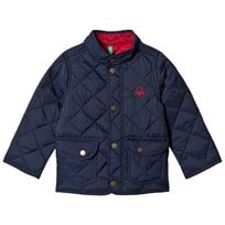 United Colors of Benetton Quilted Barn Jacket With Logo Navy Marinblå