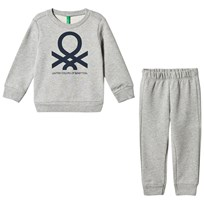 United Colors of Benetton Jersey Logo Sweater & Trouser Set Light Grey Light Grey