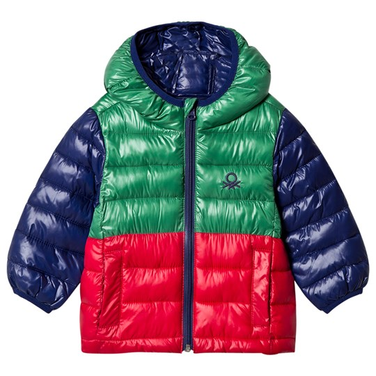 United Colors of Benetton Rain Defender Color Block Puffer Coat Green Multi