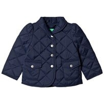 United Colors of Benetton Quilted Barn Jacket Peplum Waist Navy Marinblå