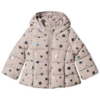 United Colors of Benetton Star Print Hooded Puffa Coat Beige Beige