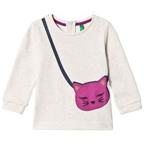 United Colors of Benetton L/S Jersey Sweater With Glitter Cat Bag Print White White