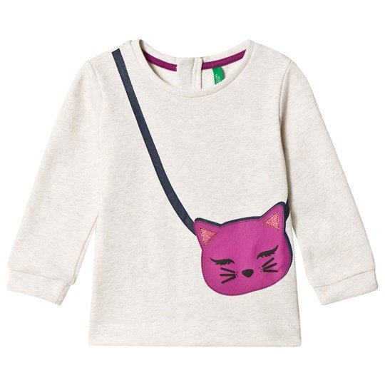 United Colors of Benetton Jersey Sweater with Glitter Cat Print White