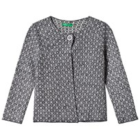 United Colors of Benetton L/S Woven Print Cardigan Navy Marinblå