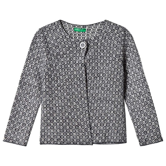 United Colors of Benetton L/S Woven Print Cardigan Navy Navy
