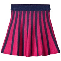 United Colors of Benetton A Line Stripe Knit Skirt With Lurex Waist Band Navy Navy
