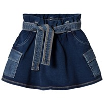 United Colors of Benetton Cargo Denim Skirt Belted Waist Blue Blue