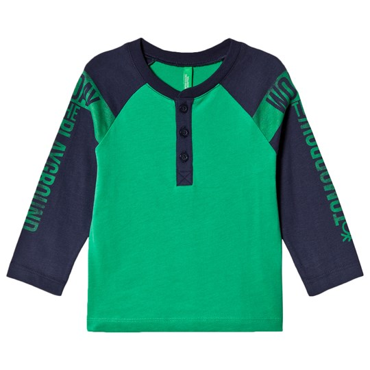 United Colors of Benetton L/S Colour Block Henley Style T-Shirt With Text Print Sleeves Green Green