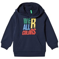 United Colors of Benetton We´R All Colors Print Pullover Jersey Hoodie Navy Marinblå