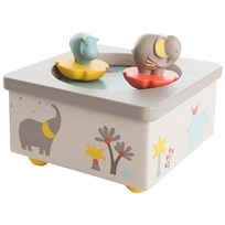 Moulin Roty White Musical Box with Elephant and Hippo White