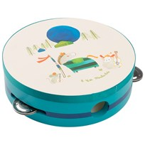 Moulin Roty Turquoise Painted Wooden Tambourine Cream