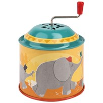 Moulin Roty Yellow Wind Up Musical Box with Elephant Yellow