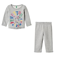 United Colors of Benetton Logo Sweater and Jogger Set Light Grey Light Grey