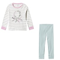 United Colors of Benetton Floral Logo Stripe Sweater Pyjama Set Grey&Green GREY&GREEN