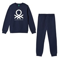 United Colors of Benetton Jersey Logo Sweater & Trouser Set Navy Navy