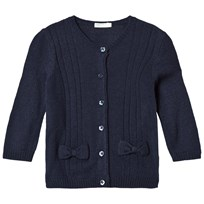 United Colors of Benetton L/S Knit Cardigan With Bow Details Navy Marinblå