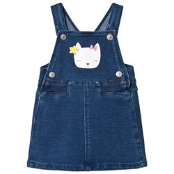 United Colors of Benetton Felpa Denim Dungaree Dress with Cat Face Detail Blue