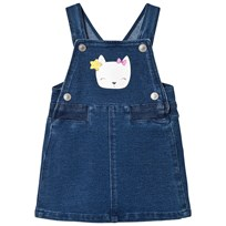 United Colors of Benetton Felpa Denim Dungaree Dress With Cat Face Detail Blue Blue