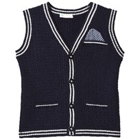 United Colors of Benetton Rib Knit Sleeveless Cardigan With Printed Pocket Detail Navy Navy