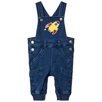 United Colors of Benetton Felpa Denim Dungaree With Space Ship Patch Navy Laivastonsininen