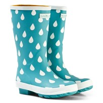 Muddy Puddles Pale Green and White Raindrop Puddlestomper Wellies Baltic Raindrop