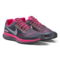 NIKE Black and Pink Nike Zoom Pegasus 34 Shield Junior Trainers DARK GREY/REFLECT SILVER-RACER PINK