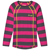 Bergans Fjellrapp Striped Shirt Hot Pink/Dark Grey Pink