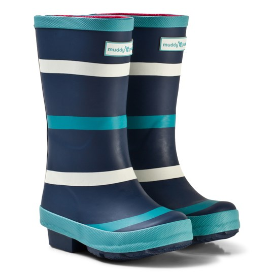 Muddy Puddles Navy with Green and White Stripe Puddlestomper Wellies Navy/Baltic Stripe