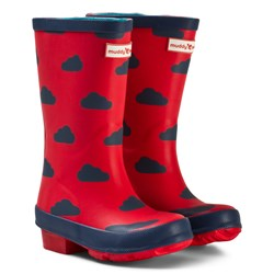 Muddy Puddles Red and Navy Cloud Puddlestomper Wellies