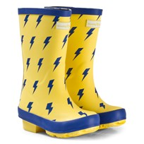 Muddy Puddles Yellow with Blue Lightning Print Puddlestomper Wellies Yellow/Blue Lightning