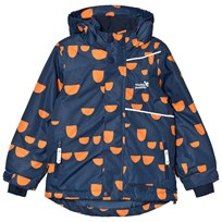Muddy Puddles Blizzard Winter Jacket Insignia Hoof Navy/Orange Hoof