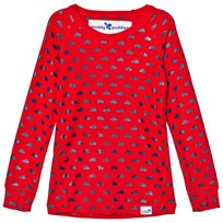 Muddy Puddles Red with Navy Clouds Base Layer Sweater Red/Navy Clouds
