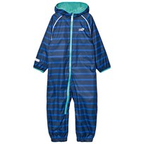 Muddy Puddles Blue and Navy Stripe Ecosplash Hooded All In One Blue Stripe