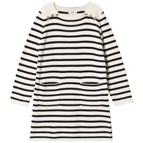 Cyrillus White and Navy Stripe Long Sleeve Dress 6915