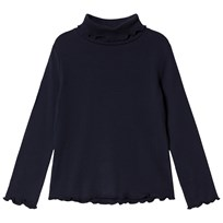 Cyrillus Navy Polo Neck Long Sleeve Tee 6399