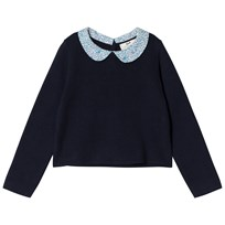 Cyrillus Navy Long Sleeve Jumper with Floral Collar 6399