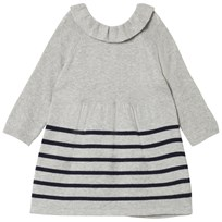 Cyrillus Grey and Navy Stripe Knit Ruffle Collar Dress 6448
