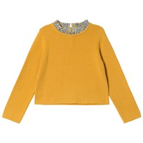 Cyrillus Yellow Long Sleeve Jumper with Floral Collar 6509