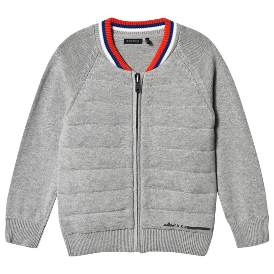 IKKS Grey Knit and Jersey Bomber Cardigan 24