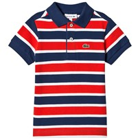 Lacoste Orangeg, Blue and White Stripe Pique Polo QR8