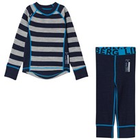 Lindberg Stripe Merino Base Layer Set Navy Marinblå