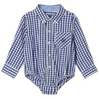 Andy & Evan Navy and White Gingham Button Down Shirtzie Navy