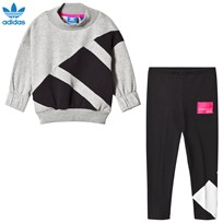 adidas Originals Grey and Black Branded Crew Tracksuit MEDIUM GREY HEATHER