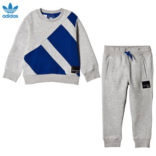 adidas Originals Grey and Blue Branded Crew Tracksuit MEDIUM GREY HEATHER
