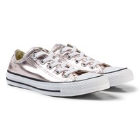 Converse Pink Junior Chuck Taylor All Star Metallic Canvas OX Rose Quartz/White