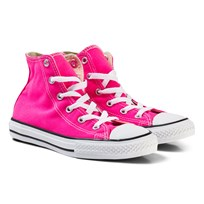 Converse Pink and White Kids Chuck Taylor All Star - Hi Pink/White