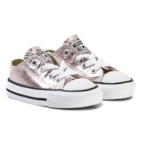 Converse Pink and White Infants Chuck Taylor All Star Metallic - OX Rose Quartz/White
